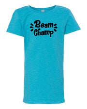 Ocean Blue Beam Champ Girls Gymnastics T-Shirt
