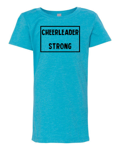 Ocean Blue Cheerleader Strong Girls Cheer T-Shirt