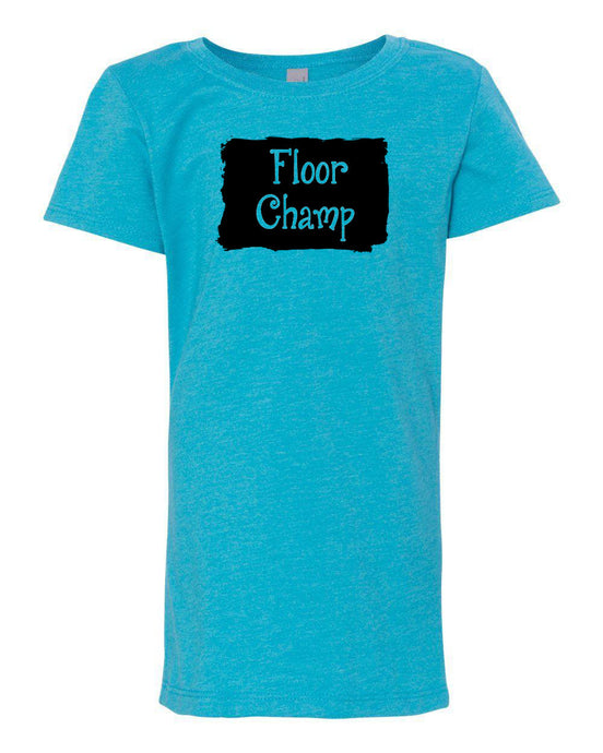 Ocean Blue Floor Champ Girls Gymnastics T-Shirt With Floor Champ Design On Front