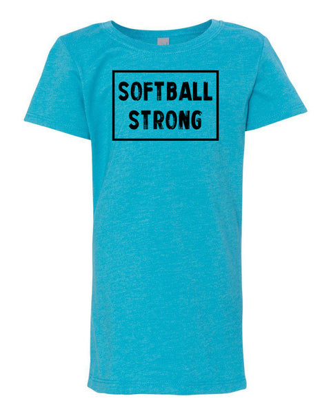 Ocean Blue Softball Strong Girls Softball T-Shirt With Softball Strong Design On The Front