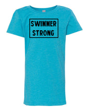 Ocean Blue Swimmer Strong Girls Swim T-Shirt