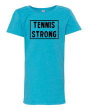 Ocean Blue Tennis Strong Girls Tennis T-Shirt With Tennis Strong Design On Front