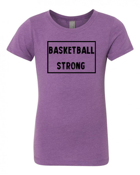 Purple Berry Basketball Strong Girls Basketball T-Shirt With Basketball Strong Design On Front