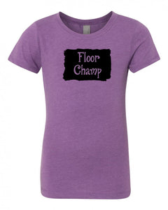 Purple Berry Floor Champ Girls Gymnastics T-Shirt With Floor Champ Design On Front