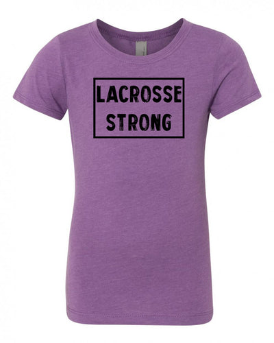 Purple Berry Lacrosse Strong Girls Lacrosse T-Shirt With Lacrosse Strong Design On Front