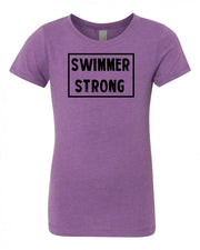 Purple Berry Swimmer Strong Girls Swim T-Shirt