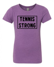 Purple Berry Tennis Strong Girls Tennis T-Shirt With Tennis Strong Design On Front