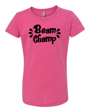 Raspberry Beam Champ Girls Gymnastics T-Shirt