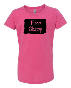 Raspberry Floor Champ Girls Gymnastics T-Shirt With Floor Champ Design On Front