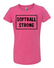 Raspberry Softball Strong Girls Softball T-Shirt With Softball Strong Design On The Front