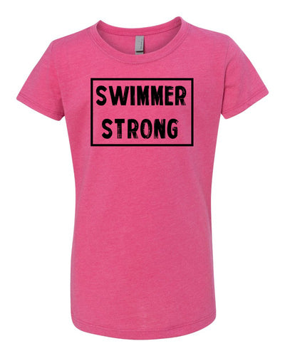 Raspberry Swimmer Strong Girls Swim T-Shirt