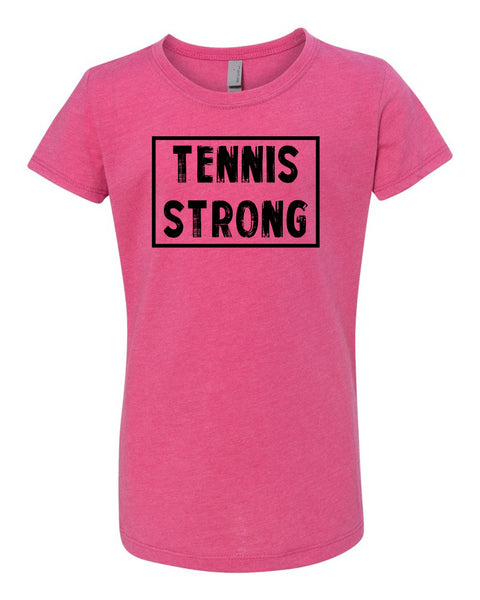 Raspberry Tennis Strong Girls Tennis T-Shirt With Tennis Strong Design On Front
