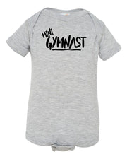 Heather Gray Mini Gymnast Baby Gymnastics Onesie