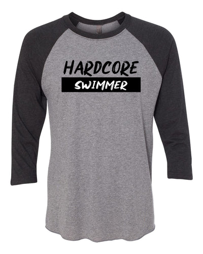 Hardcore Swimmer Adult 3/4 Sleeve Raglan T-Shirt