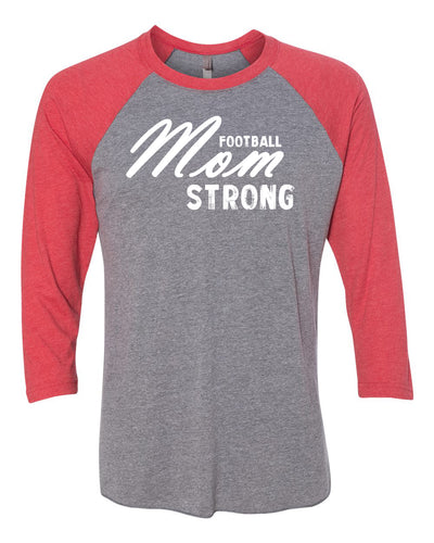 Football Mom Strong Adult 3/4 Sleeve Raglan T-Shirt