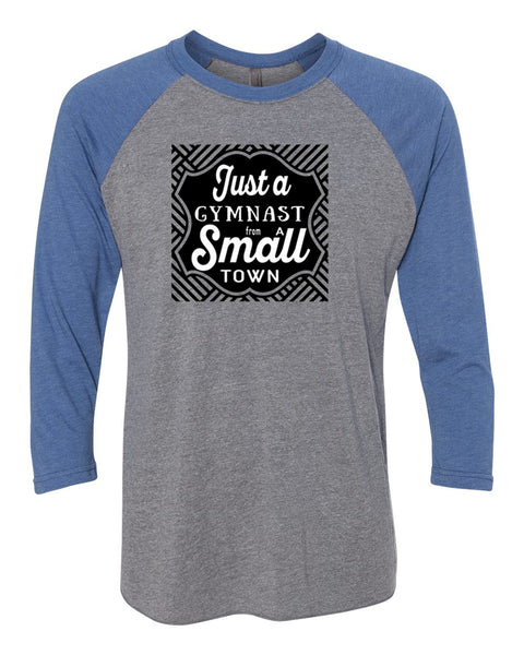 Just A Gymnast From A Small Town Adult 3/4 Sleeve Raglan T-Shirt