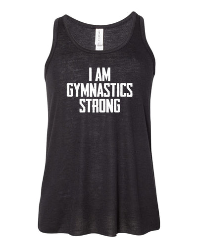 Black I Am Gymnastics Strong Girls Flowy Racerback Gymnastics Tank Top