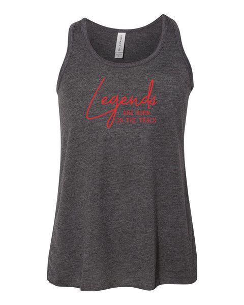Legends Are Born On The Track Girls Flowy Racerback Tank Top