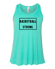 Teal Basketball Strong Girls Flowy Racerback Basketball Tank Top