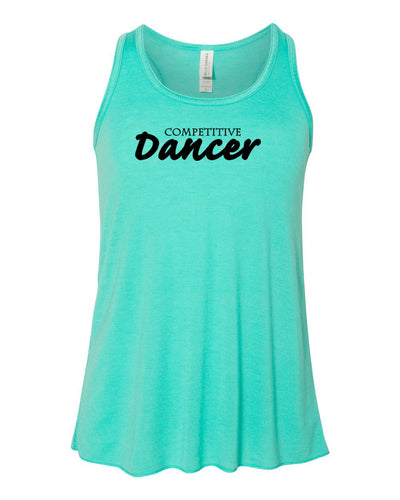 Teal Competitive Dancer Girls Flowy Racerback Dance Tank Top