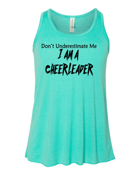 Teal Don't Underestimate Me I Am A Cheerleader Girls Racerback Tank Top