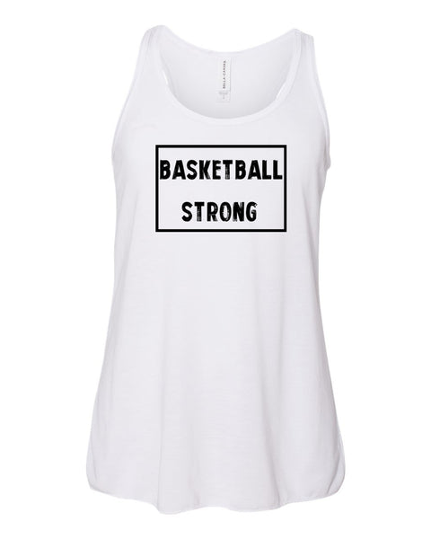 White Basketball Strong Girls Flowy Racerback Basketball Tank Top