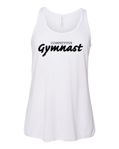 White Competitive Gymnastics Girls Flowy Racerback Gymnastics Tank Top