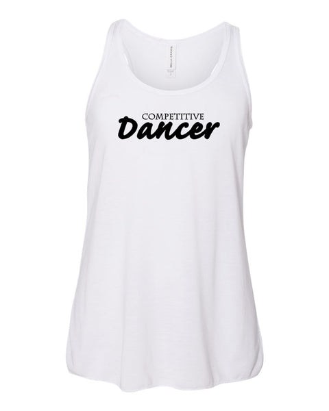 White Competitive Dancer Girls Flowy Racerback Dance Tank Top