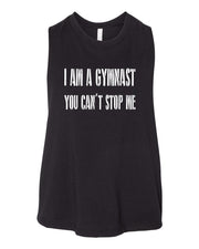 I Am A Gymnast You Can't Stop Me Work Out Racerback Crop Top Tank