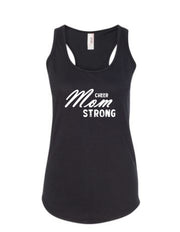 Black Cheer Mom Strong Ladies Racerback Cheer Tank Top With Cheer Mom Strong Design On Front