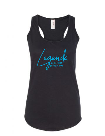 Legends Are Born In The Gym Ladies Racerback Tank Top