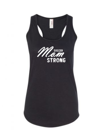 Black Soccer Mom Strong Ladies Racerback Soccer Tank Top