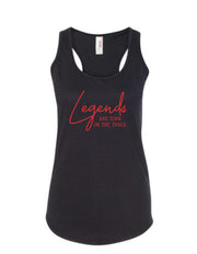 Legends Are Born On The Track Ladies Racerback Tank Top