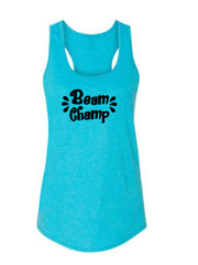 Caribbean Blue Beam Champ Ladies Racerback Gymnastics Tank Top