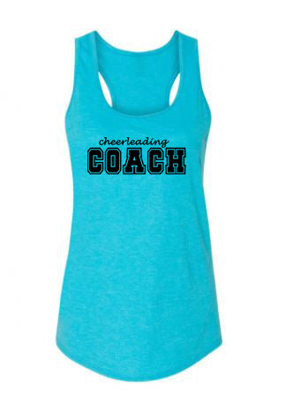 Caribbean Blue Cheerleading Coach Ladies Racerback Tank Top