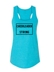 Caribbean Blue Cheerleader Strong Ladies Racerback Cheer Tank Top