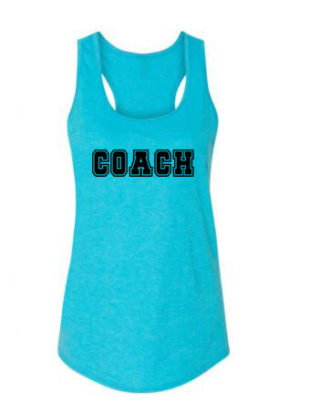 Caribbean Blue Coach Ladies Racerback Tank Top