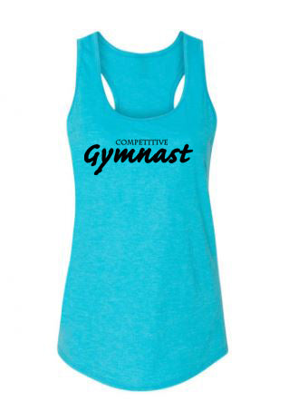Caribbean Blue Competitive Gymnast Ladies Racerback Gymnastics Tank Top