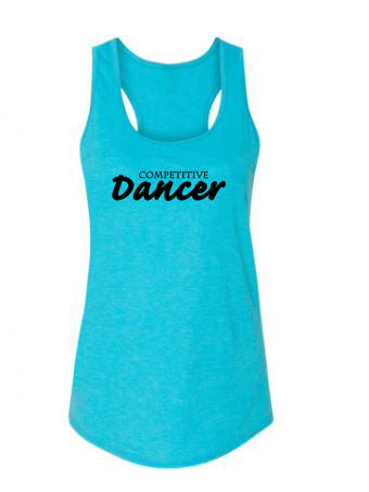 Caribbean Blue Competitive Dancer Ladies Racerback Dance Tank Top