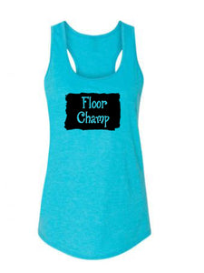 Caribbean Blue Floor Champ Ladies Racerback Gymnastics Tank Top With Floor Champ Design On Front
