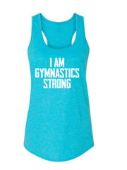 Caribbean Blue I Am Gymnastics Strong Ladies Racerback Gymnastics Tank Top