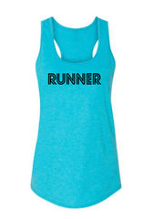 Caribbean Blue Runner Ladies Racerback Runner Tank Top