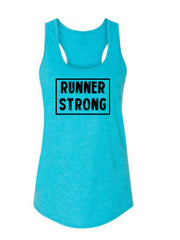 Caribbean Blue Runner Strong Ladies Racerback Runner Tank Top