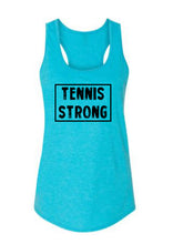 Caribbean Blue Tennis Strong Ladies Racerback Tennis Tank Top With Tennis Strong Design On Front