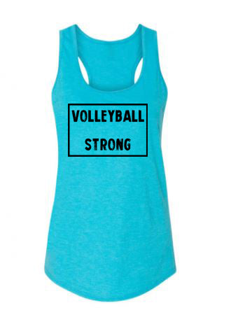Caribbean Blue Volleyball Strong Ladies Racerback Volleyball Tank Top