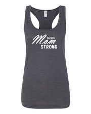 Heather Dark Gray Soccer Mom Strong Ladies Racerback Soccer Tank Top