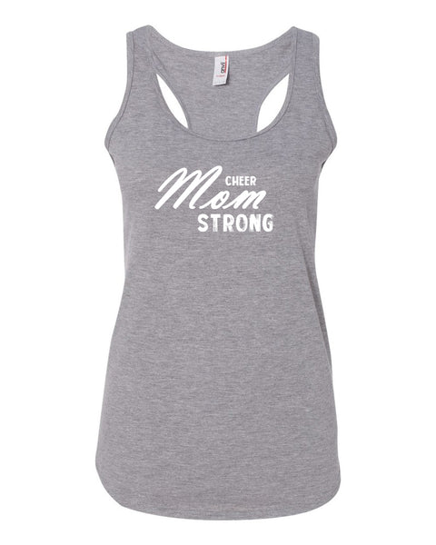 Heather Gray Cheer Mom Strong Ladies Racerback Cheer Tank Top With Cheer Mom Strong Design On Front