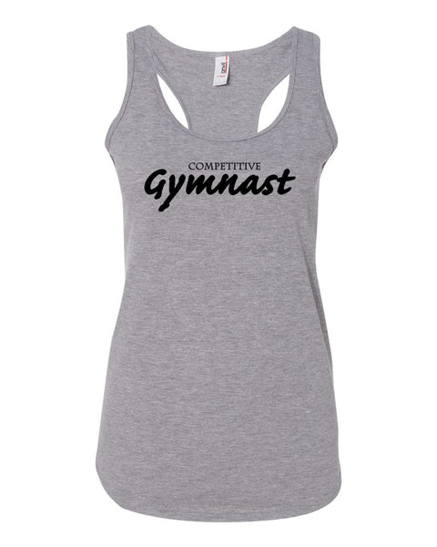Heather Gray Competitive Gymnast Ladies Racerback Gymnastics Tank Top
