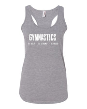 Heather Gray Gymnastics Be Bold Be Strong Be Proud Ladies Racerback Tank Top