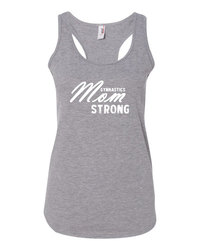 Heather Gray Gymnastics Mom Strong Ladies Racerback Gymnastics Tank Top